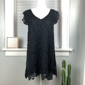 BB DAKOTA Black Lace Floral Mini Dess